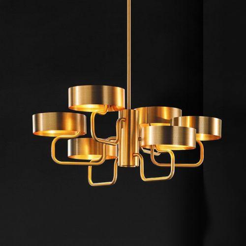 Masiero Sound Ceiling Large 110cm Pendant 6 x G9 Brushed Gold SOUND-S6