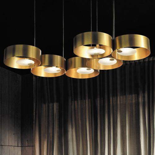 Masiero Sound Ceiling Large 120cm Multi Pendant 6 x G9 Brushed Gold SOUND-OR6