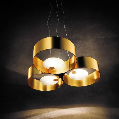 Masiero Sound Ceiling 60cm Pendant 3 x G9 Brushed Gold SOUND-OR3