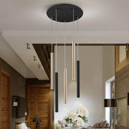 Schuller Varas 373142 LED 5 Light Round Gold and Black Ceiling Pendant
