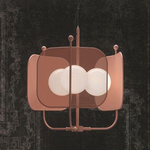 Masiero Papilio Ceiling 68cm Pendant 3 x E14 Antique Pink PAPILIO-S3-P-V34