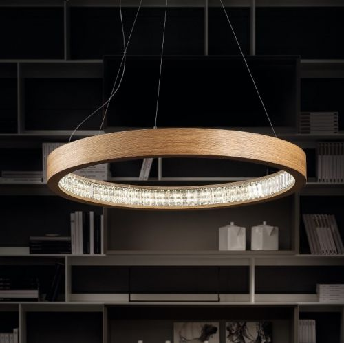 Masiero Libe Ceiling Medium 90cm LED Round Pendant Light Wood LIBE-S90-W01