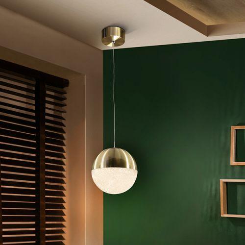 Schuller Sphere 793407 LED Single Large Ceiling Pendant 1.4 Metre Drop Satin Brass Frame