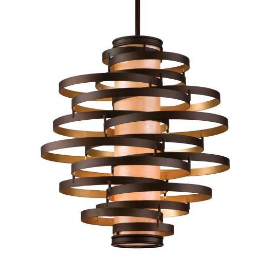 Large Ceiling Pendant Light Bronze/Gold Leaf Corbett Vertigo 113-44-CE