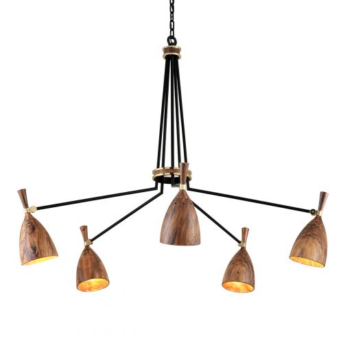 Multi-Arm Ceiling Pendant 5 Light Brass / Wood Corbett Utopia 280-05-CE