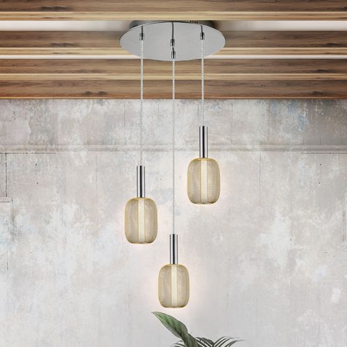 Schuller Micron 413626 LED 3 Light Spiral Pendant Chrome and Gold