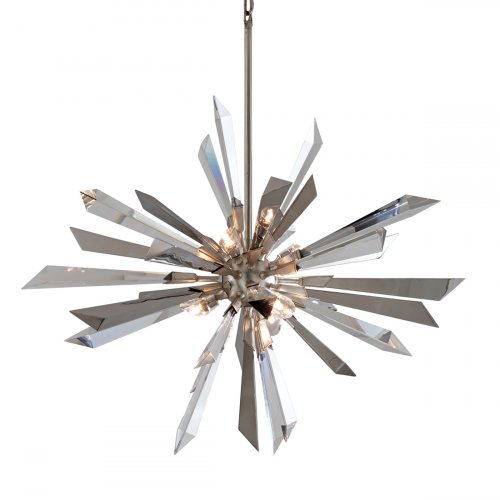 Large Ceiling Pendant Silver Leaf 6 Light Corbett Inertia 140-47-CE