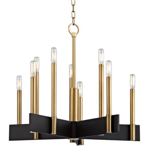 Ceiling Pendant 10 Light Aged Brass Hudson Valley Abrams 8825-AGB-CE