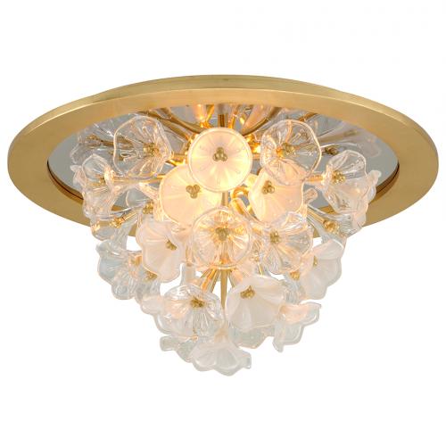 Semi Flush LED Ceiling Light Gold Leaf Corbett Jasmine 268-31-CE