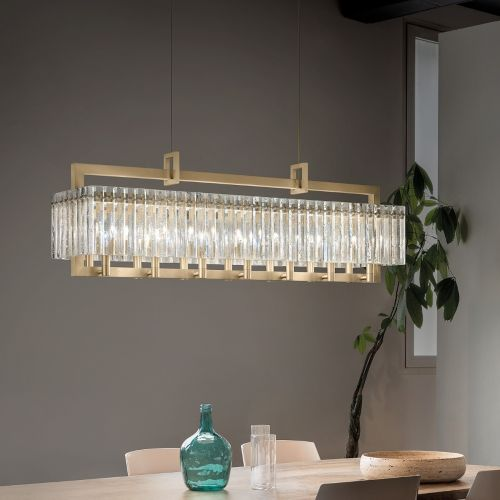 Masiero Crek Ceiling Large 123cm Bar Pendant 14 x E14 Brushed Brass CREK-S14-G18