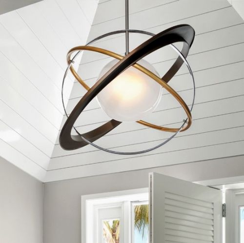 Large Ceiling Pendant Light Bronze / Gold Leaf Troy Apogee F5513-CE