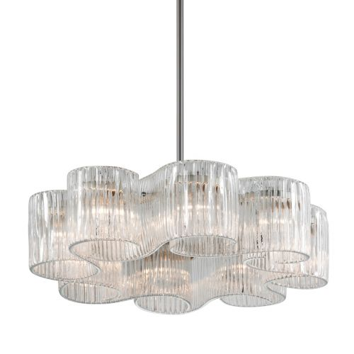 Large Ceiling Pendant 8 Light Silver Leaf Corbett Circo 240-48-CE