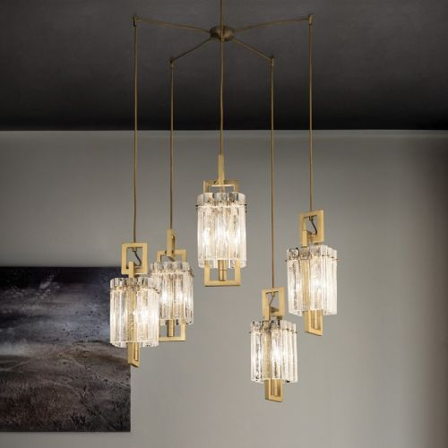 Masiero Crek Ceiling Multi-Arm Pendant 5 x E14 Brushed Brass CREK-S5-G18