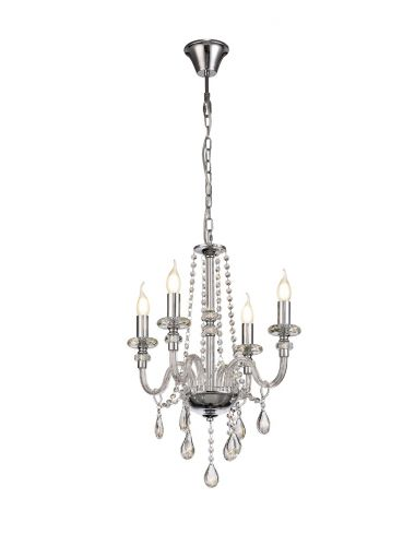 Chandelier Pendant 4 Light Polished Chrome/Clear Glass/Crystal Pilton LEK3381