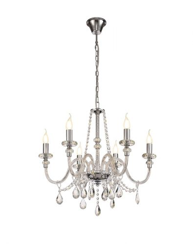 Chandelier Pendant 6 Light Polished Chrome/Clear Glass/Crystal (ITEM REQUIRES CONSTRUCTION) Pilton LEK3382