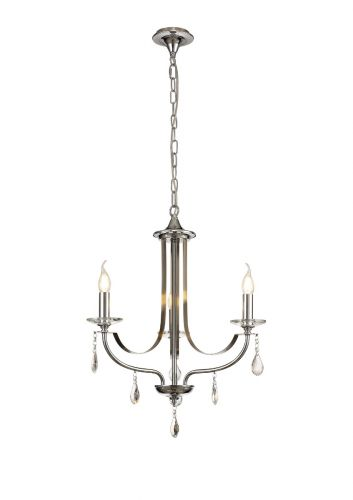 Ceiling Pendant 3 Light E14 Polished Chrome/Satin Nickel/Clear Crystal Lovrec LEK3387