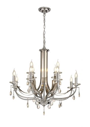 Ceiling Pendant 12 Light E14 Polished Chrome/Satin Nickel/Clear Crystal Lovrec LEK3390