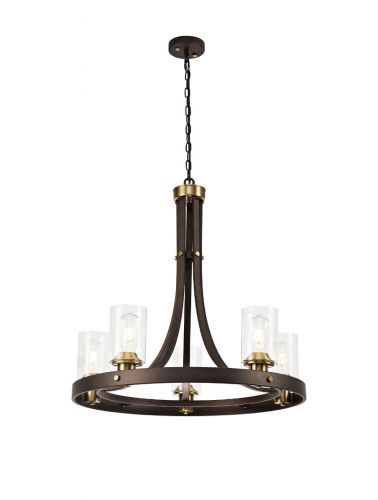 Ceiling Pendant 5 Light with Clear Glass Shades, Brown Oxide/Bronze Brusen LEK3413