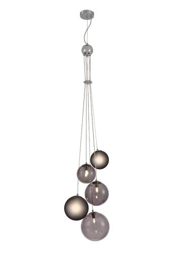 Ceiling Pendant 5 Light Polished Chrome/Smoked Glass Rocco LEK3483