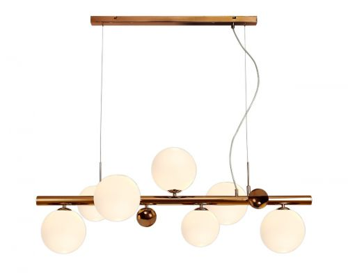Linear Bar Pendant 7 Light Antique Copper/Opal & Copper Glass Rocco LEK3486