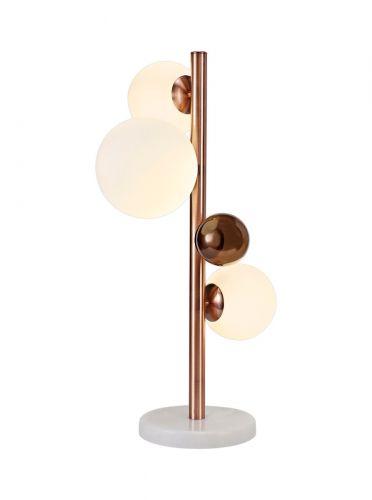 Table Lamp 3 Light Antique Copper/Opal & Copper Glass LEK3488