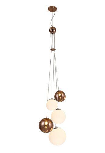 Ceiling Pendant 5 Light Antique Copper/Opal & Copper Glass Rocco LEK3491