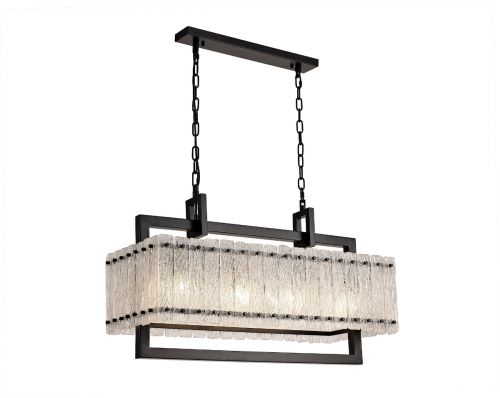 Medium Rectangular Pendant Fitting 8 Light E27 Matt Black/Crystal Sand Glass Pedersen LEK3509