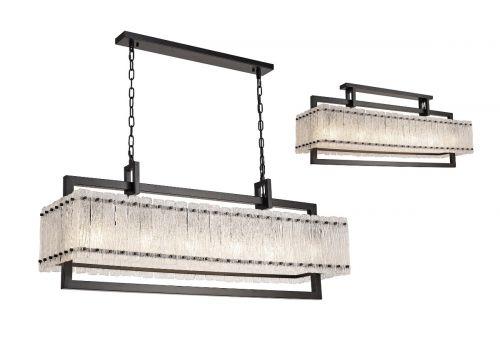 Large Rectangular Pendant Fitting 12 Light E27 Matt Black/Crystal Sand Glass Pedersen LEK3510