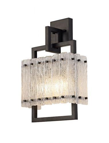 Wall Lamp 2 Light E27 Matt Black/Crystal Sand Glass Pedersen LEK3511