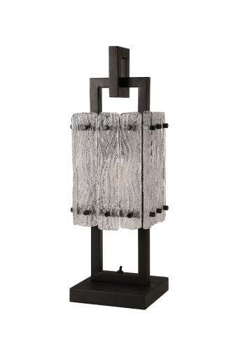 Table Lamp 1 Light E27 Matt Black/Crystal Sand Glass Pedersen LEK3512