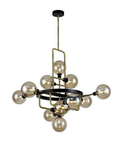 Fixed Ceiling Pendant 12 Light G9 Matt Black/Antique Brass/Cognac Glass Marcel LEK3556