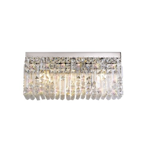 Rectangular Large Wall Lamp 3 Light E14 Polished Chrome/Crystal Kondo LEK3638