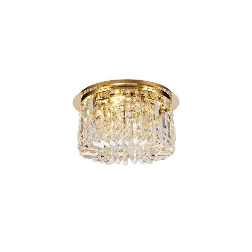 Round Flush Chandelier 5 Light E14 Gold/Crystal Kondo LEK3639