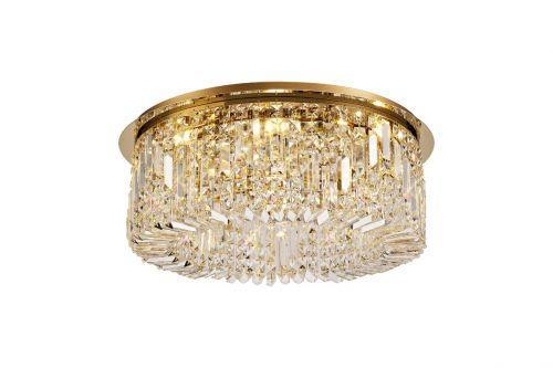 Round Flush Chandelier 8 Light E14 Gold/Crystal Kondo LEK3640