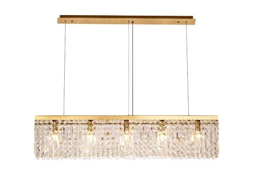 Rectangular Pendant Chandelier 5 Light E14 Gold/Crystal Kondo LEK3644