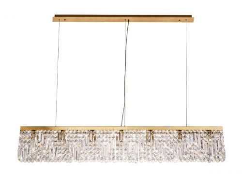 Rectangular Pendant Chandelier 7 Light E14 Gold/Crystal Kondo LEK3645