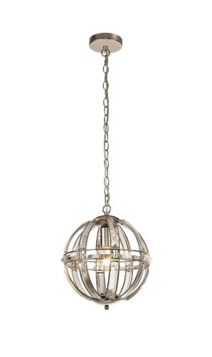 Round Pendant 1 Light Polished Nickel Molina LEK3765