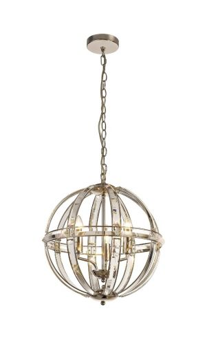 Large Round Pendant 3 Light Polished Nickel Molina LEK3766