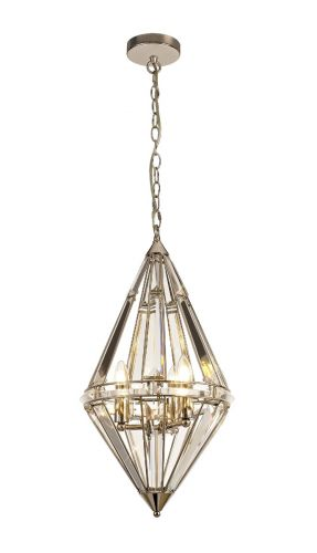 Diamond Ceiling Pendant 3 Light Polished Nickel Molina LEK3768