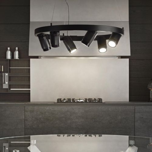 Ideal Lux Zoom Suspended Spotlight Ceiling Pendant 6 Light Black IDE/235929