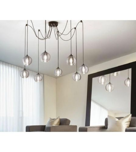 Ideal Lux Riga Chandelier 8 Light Smoked IDE/241197