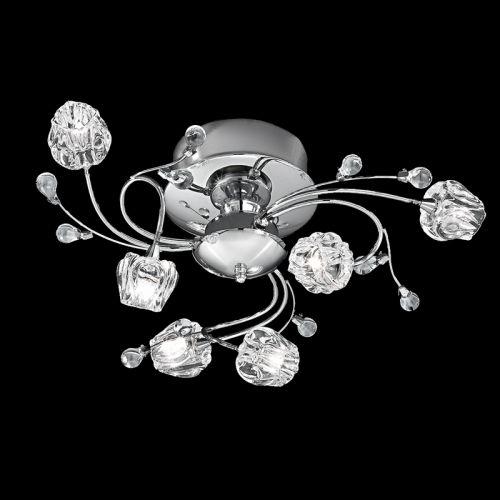 Semi-Flush Ceiling Fitting Chrome Pod Shaped Glass Rostrum LEK60861