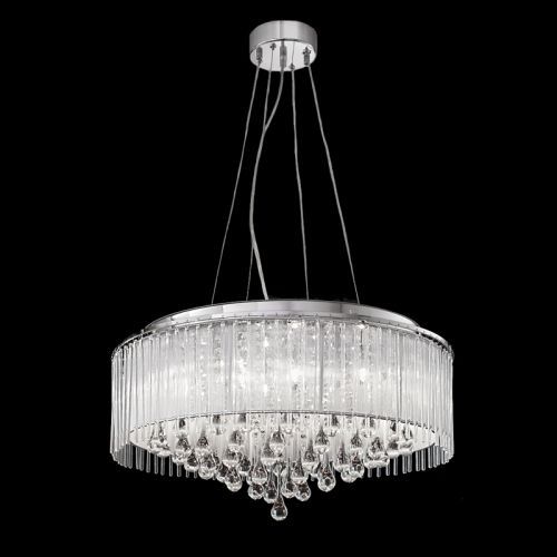 Chrome Ceiling Pendant 8 Light Ceiling Fitting Crystal Glass Drops Liberty LEK60844