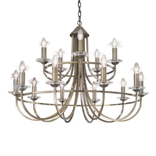 Multi-Arm Ceiling Pendant 15 Light 2 Tier Bronze Oklahoma LEK60557