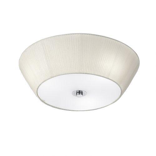 Flush Ceiling Fitting 3 Light Cream Fabric  LEK60487