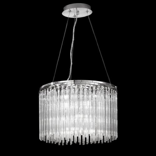 Chrome Ceiling Pendant 9 Light Fitting With Glass Rods Marimba LEK60470