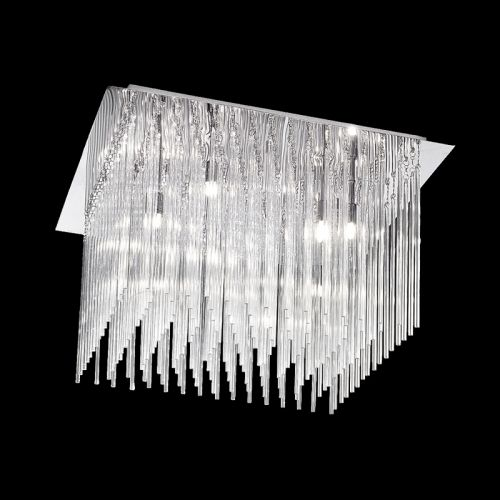 Flush Ceiling Fitting 10 Light Chrome Glass Rods Marimba LEK60466