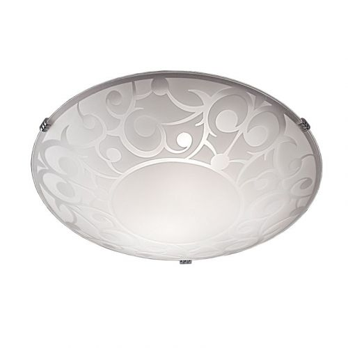 Flush Ceiling Fitting With Low Energy Option Opal Glass LEK60037