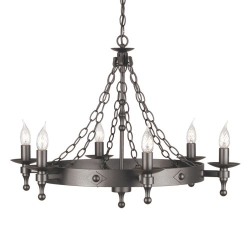 Elstead Warwick 6 Light Graphite Black Chandelier WR6 GRAPHITE