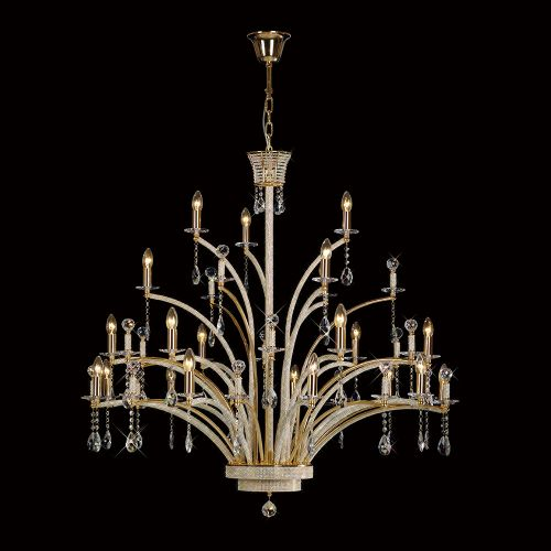 Diyas  Orlando Pendant 21 Light French Gold/Crystal IL30390 (ITEM REQUIRES ASSEMBLY)
